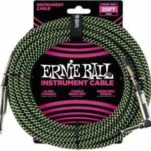 Ernie Ball Instr.Kabel WKL/KL 7,62m BK/GN Gewebe, gerade/gewinkelt,  Black/Neon Green