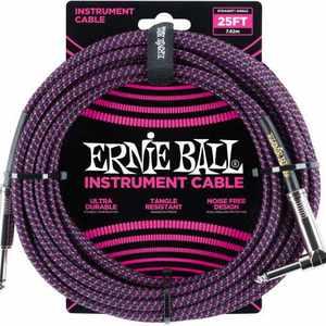 Ernie Ball Instr.Kabel WKL/KL 7,62 BK/VIO Gewebe, gerade/gewinkelt,  Black/Neon Violett