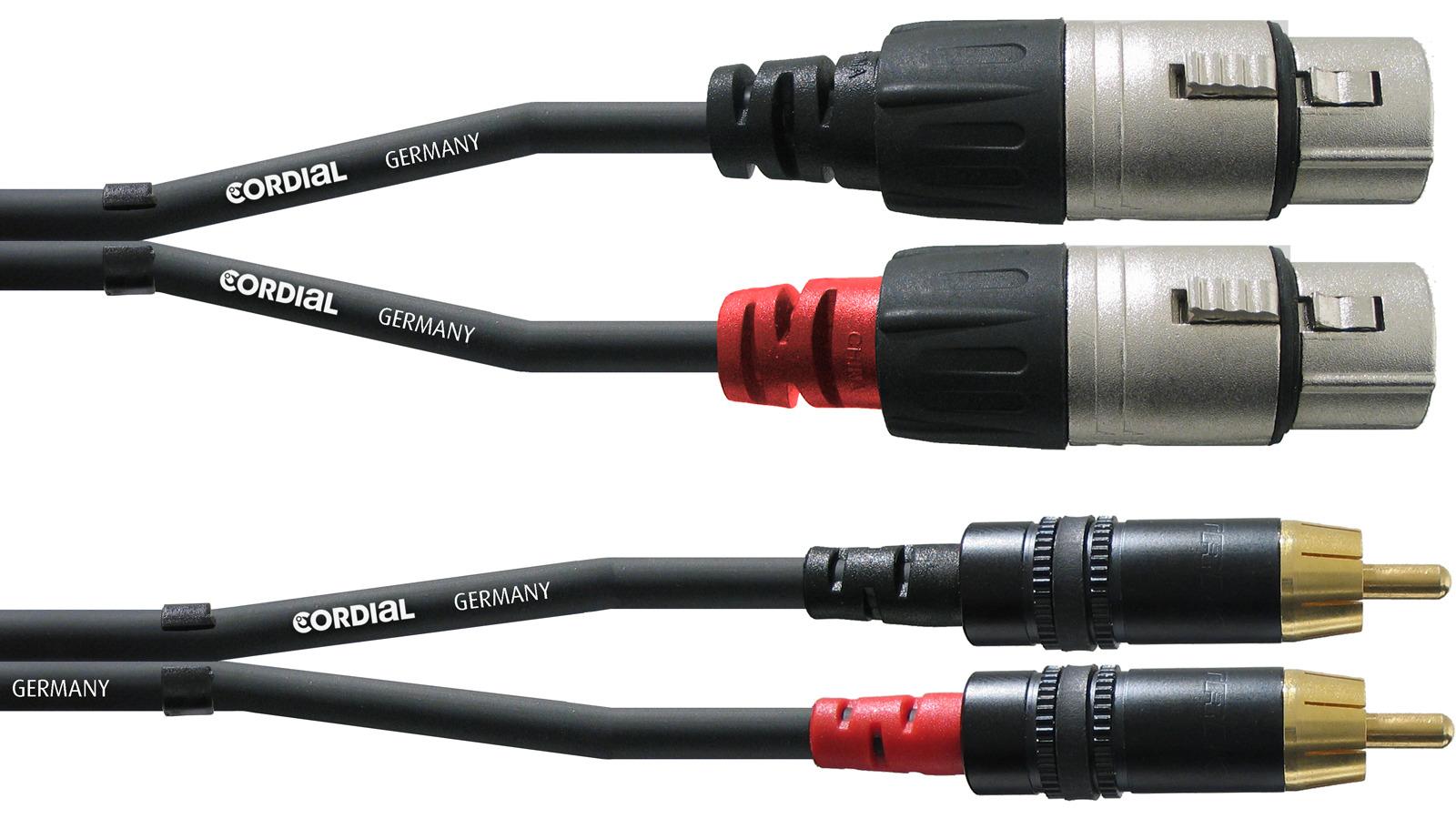 Cordial CFU 3 FC Twin Kabel XLR female Cinch Stecker 3 m