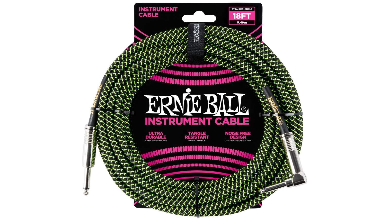 Ernie Ball EB6082 Instrumentenkabel 5,49m grün/schwarz