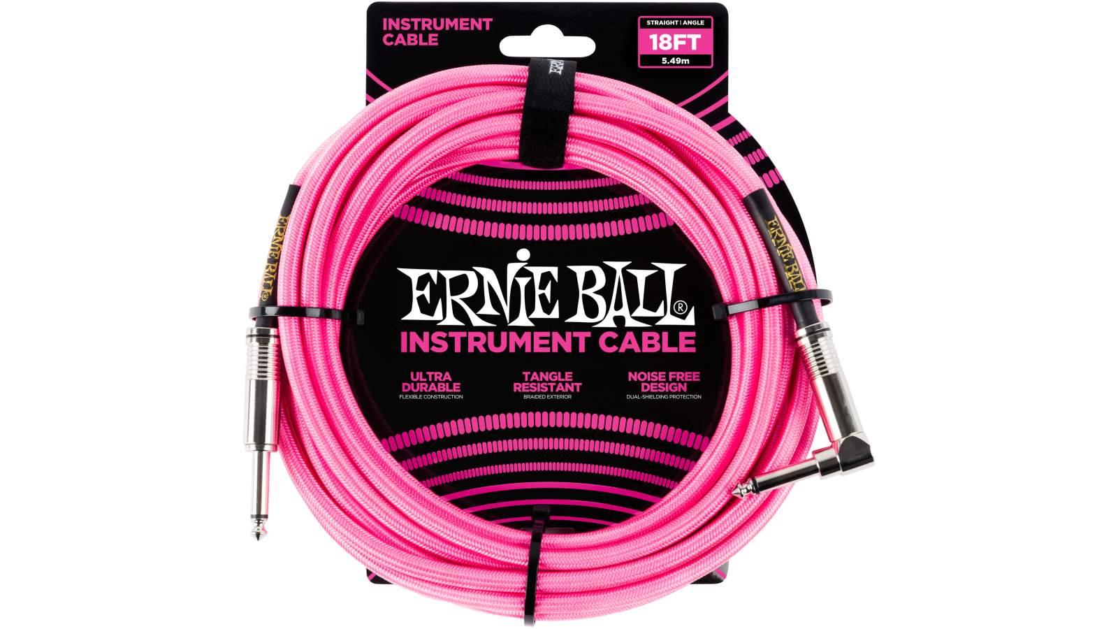 Ernie Ball EB6083 Instrumentenkabel 5,49m Pink