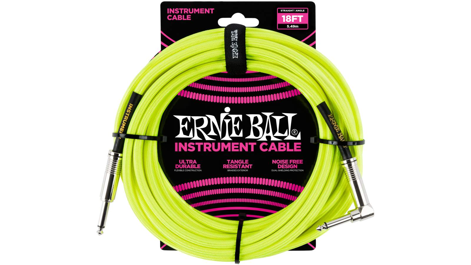 Ernie Ball EB6085 Instrumentenkabel 5,49m gelb