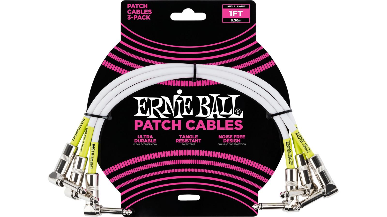 Ernie Ball EB6055 Patchkabel weiß 3er Pack 30 cm