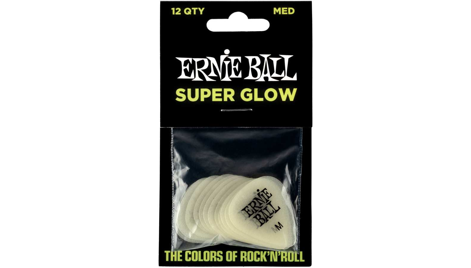 Ernie Ball EB9225 Picks Medium Glow in the Dark 12er
