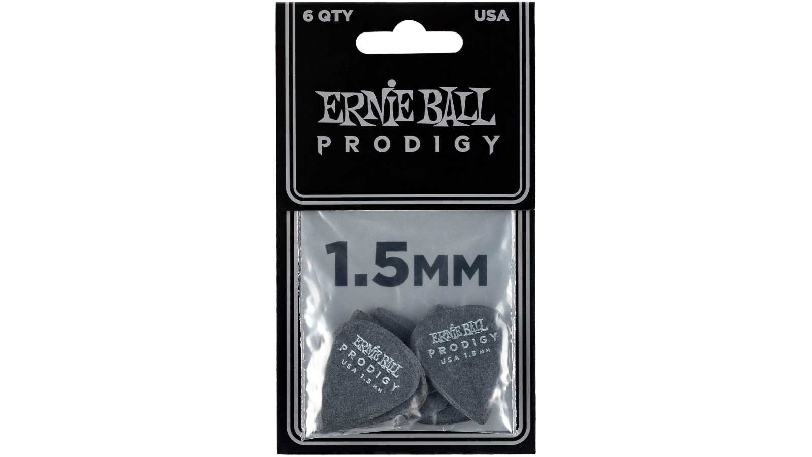 Ernie Ball EB9199 Picks Prodigy standard 6er Pack 1,5mm Black