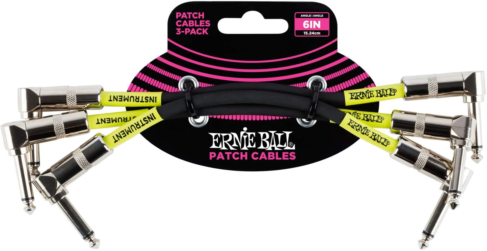 Ernie Ball EB6050 Patchkabel 3er Pack 15cm Black