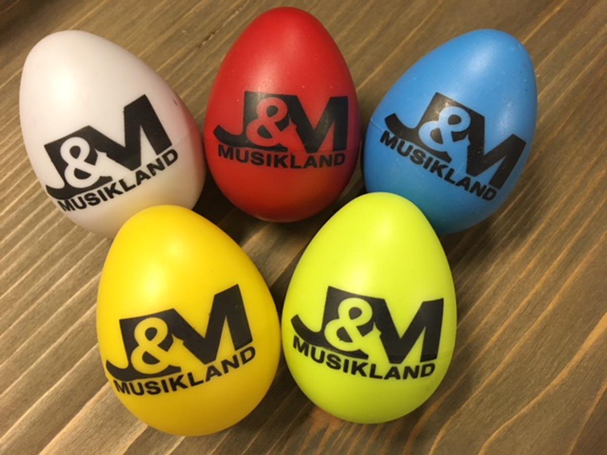 J&M Shaker Egg 5 Stück Set  (Rot,Weiß,Grün,Blau,Gelb)