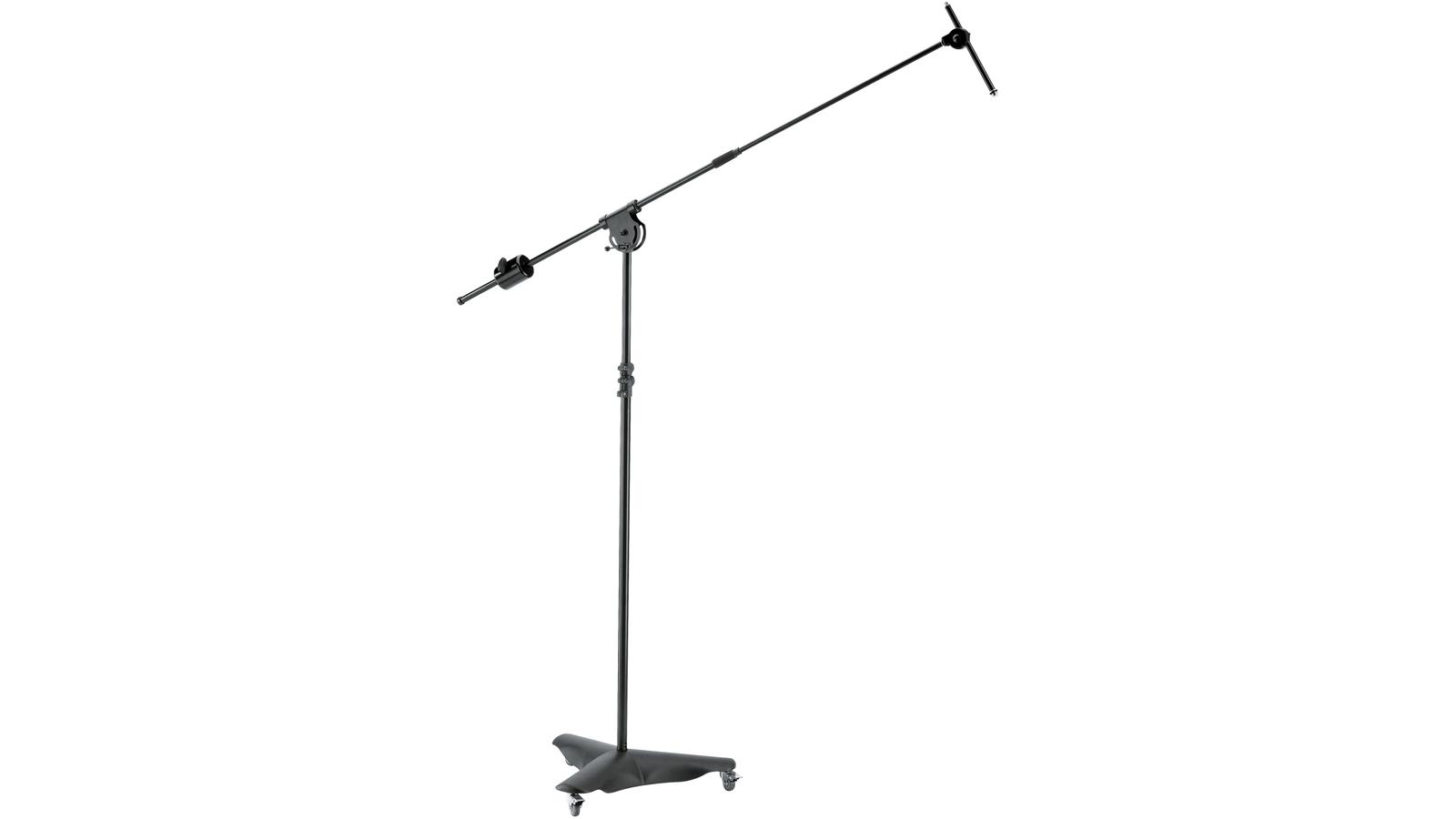 K&M Overhead Mikrofonstativ mit Rollen und Gegengewicht schwarz