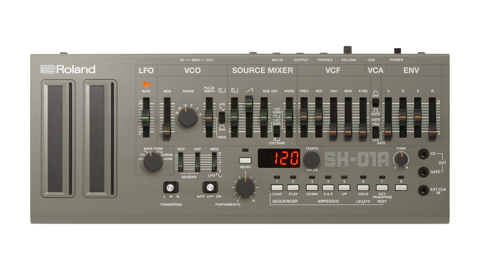 Roland SH-01A Synthesizer Silber