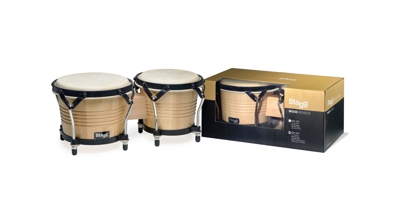 Stagg BW-200-N Bongo Set 7,5'' & 6,5'' Holz Natural