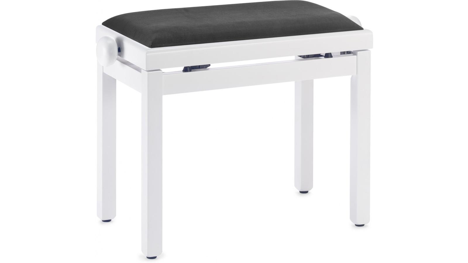 Klavierbank / Pianobank  Weiß inkl. schwarzem Polster PB39