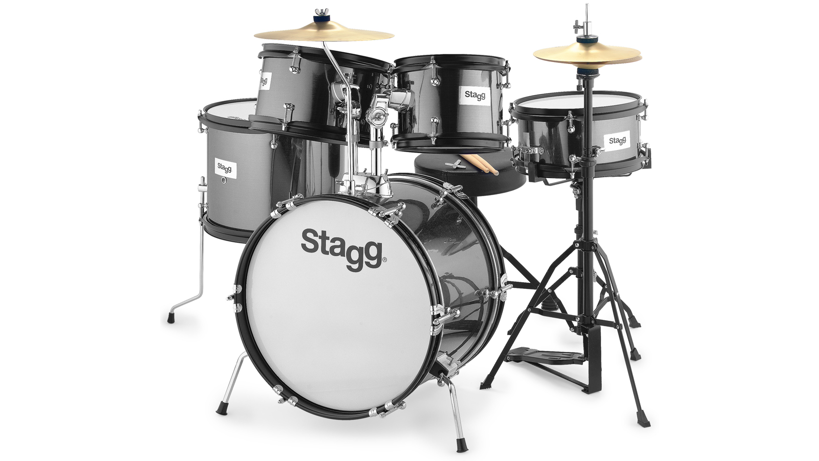Stagg TIM Junior Kit 5-teiliges Drumset schwarz