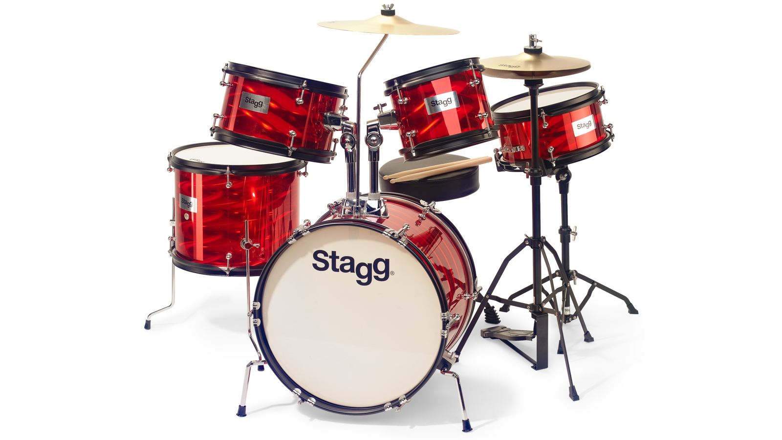Stagg TIM Junior Kit 5-teiliges Drumset rot