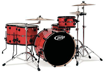 DW PDP 805 Finish Ply Drumset Red Tribal Band