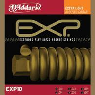 Daddario EXP-10 Satz Acoustic Gitarren Saiten bronze