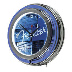 Fender StackedLounge Neon Clock Blue