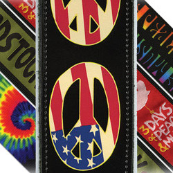 PlanetWaves 25LW06 Woodstock Leather Collection Peace Flag Ledergurt