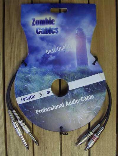 Zombie Audiokabel Cinch-Klinke 3m stereo
