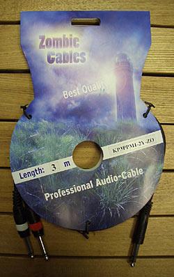 Zombie Y-Kabel 3m 2xCinch-Klinke stereo