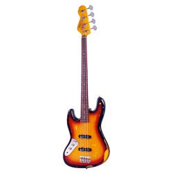 Vintage LV74MRJP E-Bass Lefthand Fretless Sunburst