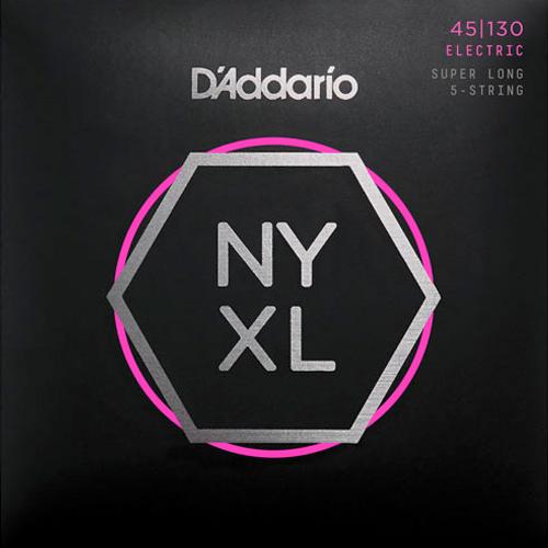 D'Addario NYXL45130SL Nickelplated Steel Regular Light Super Long 5-Saiter